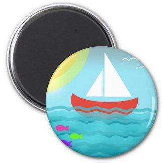 Sailing Boat Summer Sea Cartoon Magnet