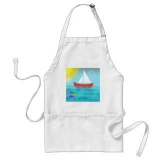 Sailing Boat Summer Sea Cartoon Standard Apron