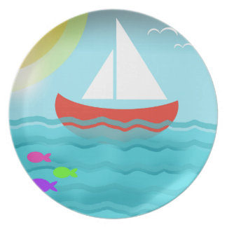 Sailing Boat Summer Sea Cartoon Summer Blue Bright Plate