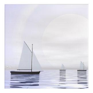 Sailing boats - 3D render Acrylic Print