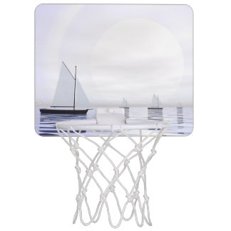 Sailing boats - 3D render Mini Basketball Hoop