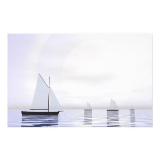 Sailing boats - 3D render Stationery
