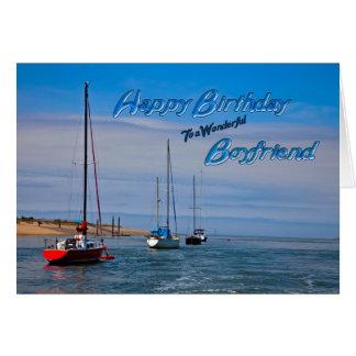 Sailing boats at anchor birthday for Boyfriend Card