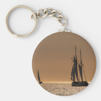 Sailing boats on shore of the Baltic Sea Basic Round Button Key Ring