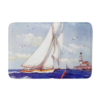 Sailing By The Lighthouse by Albert B. Marks Bath Mat