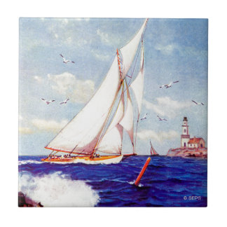 Sailing By The Lighthouse by Albert B. Marks Small Square Tile
