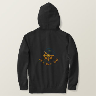 Sailing Captains Wheel Embroidered Hoodie