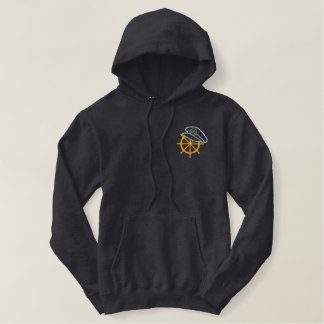 Sailing Captains Wheel Embroidered Pullover Hoodie