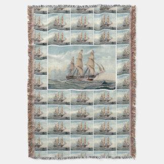 Sailing Frigate Duncan Dunbar Throw Blanket