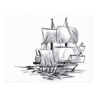 Sailing Galleon Old Ship Art Postcard