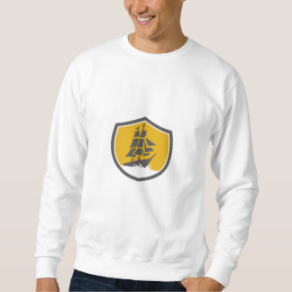 Sailing Galleon Tall Ship Crest Retro Sweatshirt