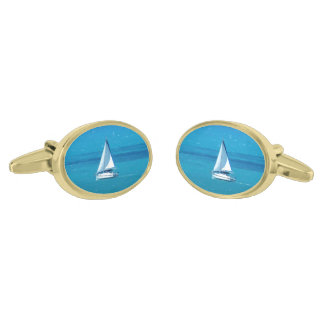 Sailing Gold Finish Cufflinks