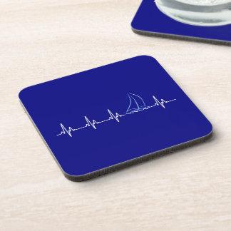 Sailing Heartbeat Funny Sailboat Coaster
