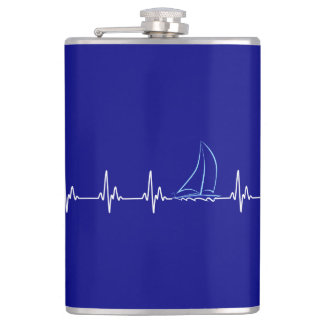 Sailing Heartbeat Funny Sailboat Hip Flask