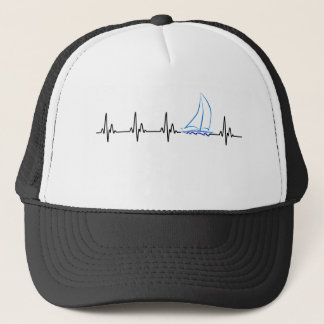 Sailing Heartbeat Funny Sailboat Trucker Hat