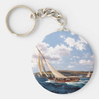 Sailing in a rough sea basic round button key ring