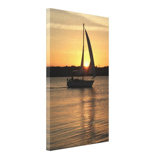 Sailing in Cardiff Bay at Sunset. Canvas Print