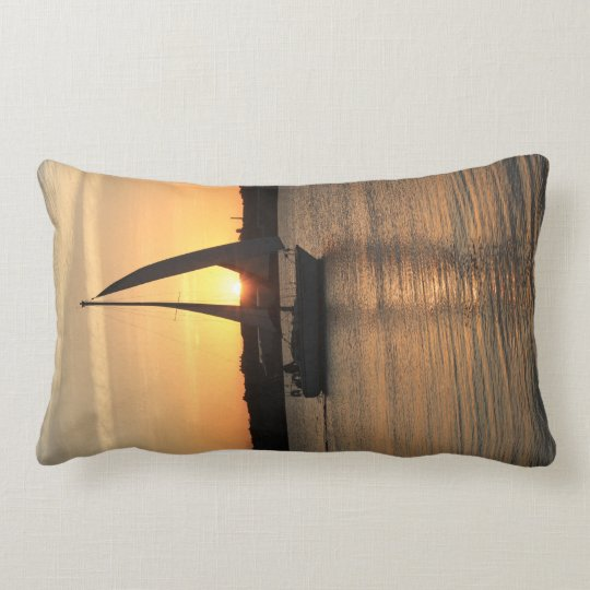 Sailing in Cardiff Bay at Sunset. Lumbar Cushion