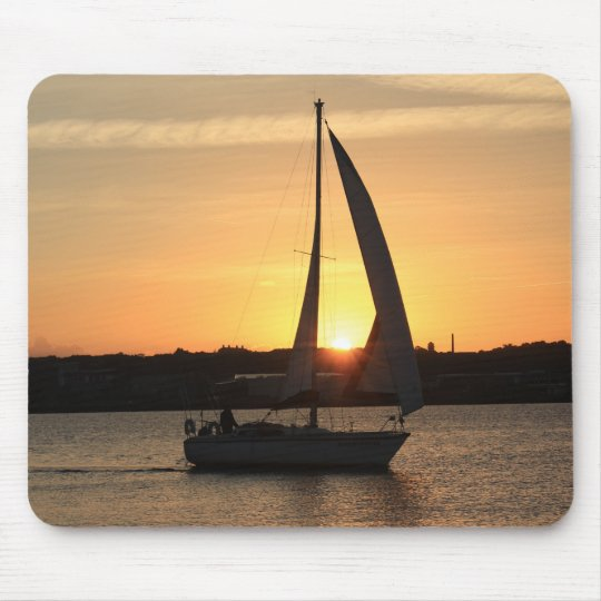Sailing in Cardiff Bay at Sunset. Mouse Pad