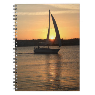 Sailing in Cardiff Bay at Sunset. Notebook