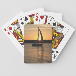 Sailing in Cardiff Bay at Sunset. Playing Cards