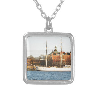 Sailing in Stockholm, Sweden Silver Plated Necklace