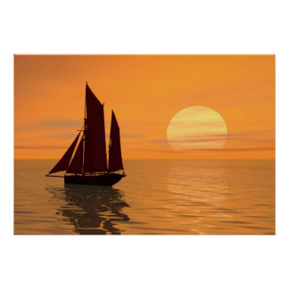 Sailing into the sunset print