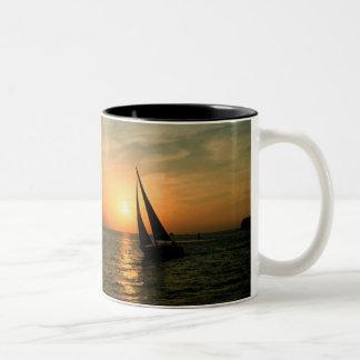 Sailing Into the Sunset Two-Tone Mug