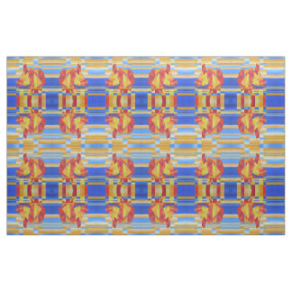 Sailing on the Seven Seas so Blue Cubist Abstract Fabric