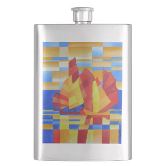 Sailing on the Seven Seas so Blue Cubist Abstract Flask