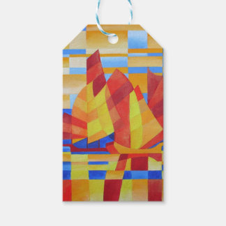 Sailing on the Seven Seas so Blue Cubist Abstract Gift Tags