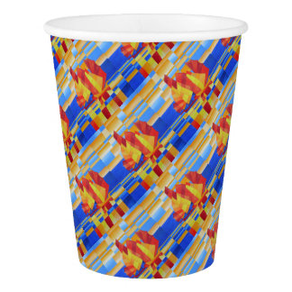 Sailing on the Seven Seas so Blue Cubist Abstract Paper Cup