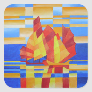 Sailing on the Seven Seas so Blue Cubist Abstract Square Sticker