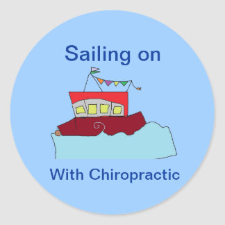 Sailing on with Chiropractic Round Sticker