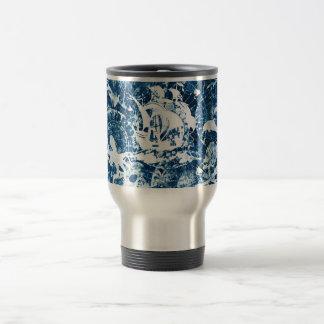 Sailing pirates blue background travel mug