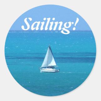 Sailing Round Sticker