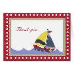 Sailing Sail Boat Thank you Note Cards