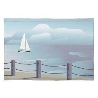 Sailing Sailboat Aqua Ocean Placemat