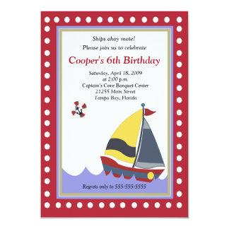 Sailing Sailboat Boat Nautical 5x7 Birthday 13 Cm X 18 Cm Invitation Card