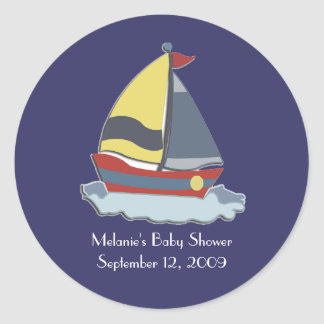 Sailing Sailboat Nautical Envelope Seals / Favors Round Sticker