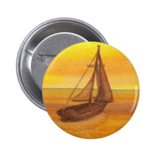 Sailing Sailboat Sunset Pretty Golden Sky Sails Pinback Button