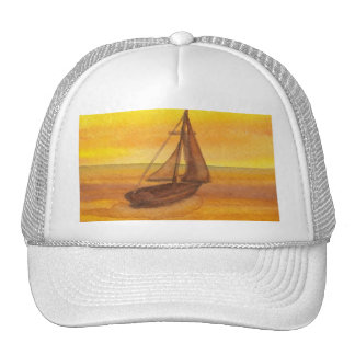Sailing Sailboat Sunset Pretty Golden Sky Sails Trucker Hat