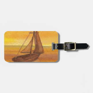 Sailing Sailboat Sunset Pretty Golden Sky Sails Luggage Tag