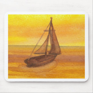 Sailing Sailboat Sunset Pretty Golden Sky Sails Mouse Pad