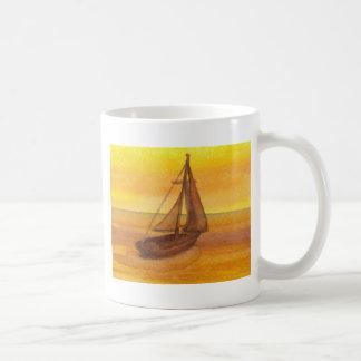 Sailing Sailboat Sunset Pretty Golden Sky Sails Mugs