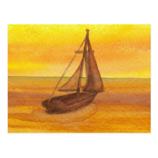 Sailing Sailboat Sunset Pretty Golden Sky Sails Post Cards