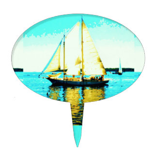 sailing schooner cake pick