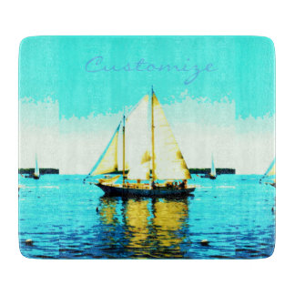 sailing schooner glass blue cutting board