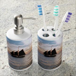Sailing Ship at Sunset Toothbrush & Soap Dispenser