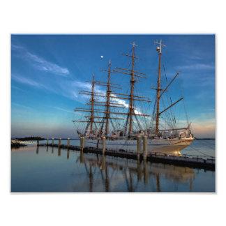 Sailing ship at the pier photo print